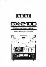 Akai  Bedienungsanleitung user manual owners manual  für GX-210 D