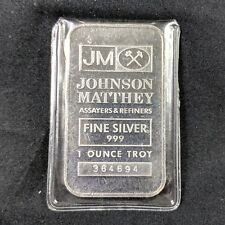 Johnson Matthey Assayers & Refiners 1 Troy Ounce Silver Bar .999 Fine #364694