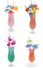 48 Assorted Tropical Drinking Straws, Luau/Tiki Party Flamingo, Flower, Umbrella