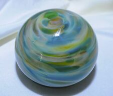 USA-Made One-of-a-Kind Hand-Blown Glass Blue/Green Paperweight by Brice Turnbull