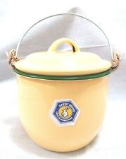 12CM ENAMEL WARE BELLY POT HANDLE COATED YELLOW ANTIQUE VINTAGE RARE TRADITIONAL
