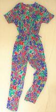 Vintage 80s jumpsuit  - viscose fabric - sretchy waist - size S