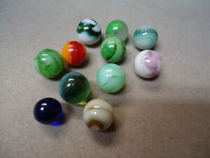 11 Vintage Mixed Makers Pee-Wee  Marbles  3/8  to  1/2   Mint - To Mint +  # A