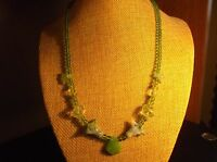 Handmade Lime Green Glass Bead Necklace 18 Inch *NWOT*