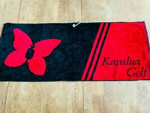 Kapalua Golf Course Hawaii Unused Black Red Soft Microfiber Towel Carabiner Clip