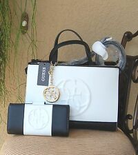 251508f2614 NWT Beautiful GUESS KORRY Status Satchel Handbag + Wallet Set Color Black  White