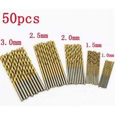 50PCS 1.0-3.0mm HSS High Speed Steel Cobalt Drill Bit Set Tools Titanium Coated