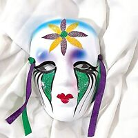 "Porcelain ""New Orleans"" Mardi Gras Mask Wall Mount Decoration Carnival Blue 4"""