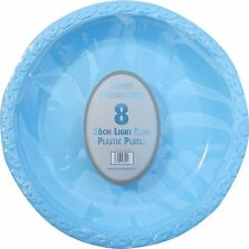 "6 x BLUE PLASTIC PLATES ROUND 26cm 10"" PARTY SUPPLIES TABLEWARE DISPOSABLE PLATE"