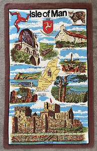 LYOTEX Made In UK Vintage Isle Of Man Cotton Tea Towel Souvenir