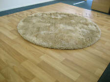 X LARGE THICK SOFT GOLD BEIGE ROUND SHAGGY RUG 135cm