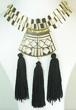 CHUNKY GOLD LAYERED EGYPTIAN THEME BLACK TASSELED STATEMENT NECKLACE (CL10)