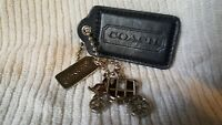 Coach 3-in-1 Horse & Carriage Logo Metal silver &black Leather Hangtag Charm fob