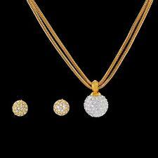 Swarovski Swan Signed Rhinestone Pave Disco Ball Necklace With Bonus Earrings