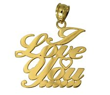 """14K Real Yellow Gold """"I LOVE YOU"""" Heart Charm Pendant"""