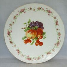 Very Old Plate w/ Fruit Transfer Peaches, Cherries, Grapes