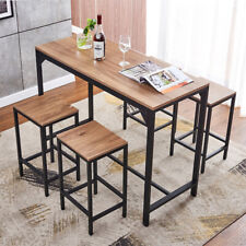 Modern 5 Piece Wood Dining Table Set w/ 4 Chairs Breakfast Kitchen Furniture New