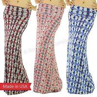 Burgundy Coral Blue Aztec Tribal Ethnic Print Fold Over Rayon Long Maxi Skirt US