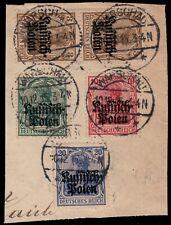 POLOGNE / POLAND / POLEN - Deutsche Post in Polen Mi.1(x2), 2, 3, 4 on piece
