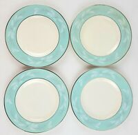 Set 4 Homer Laughlin Romance BREAD & BUTTER PLATES Vintage USA Turquoise Silver