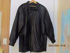 MEN'S LEATHER JACKET BLACK SIZE SMALL LONG GEORGETOWN DESIGN
