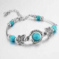 Boho Women Tibetan 925 Silver Turquoise Bangle Cuff Bracelet Retro Jewelry Gift