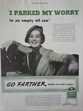 1937 Quaker State Motor Oil I Parked My Worry In and Empty Oil Can Woman Ad