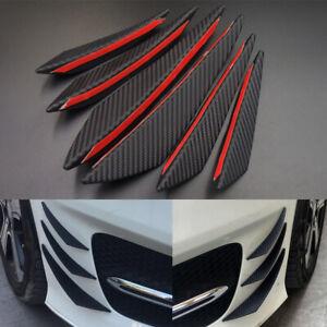 6Pcs Universal Carbon Fiber Car Front Bumper Canards Fins Spoiler Body Splitter