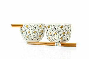 Gudetama Bowl & Chopstick Set - White Ceramic Ramen/Rice Bowls & Wooden