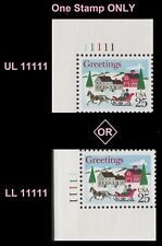 US 2400 Holiday Sleigh and Village 25c plate single MNH 1988