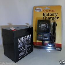 12VOLT 5AMP HOUR RECHARGEABLE SEALED SLA BATTERY 12V 5AH & CHARGER W LED LIGHTS
