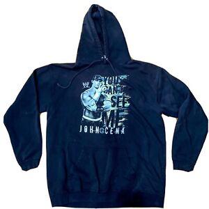 Vtg WWE John Cena YOU CANT SEE ME Wrestling Sweatshirt Hoodie XL black two sides