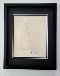 PABLO PICASSO  1962 SIGNED SUPERB ENGRAVING FRAMED + LIST $695