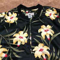 Women's Jacket, Caribbean Joe, Polyester, Zippered, Black Floral, Size 1X