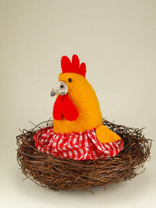 Mama Hen Laying Egg Doll Hen's Spring Easter Handmade Pet Plush Chicken Toy Ooak