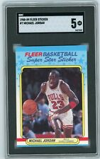 MICHAEL JORDAN 1988-89 Fleer Sticker #7 Chicago Bulls 3rd Year SGC 5 Excellent