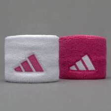 NWT ADIDAS  3 bar Logo 1 pair WHITE/PINK  Sweatbands WRISTBANDS TERRY LOOP NEW