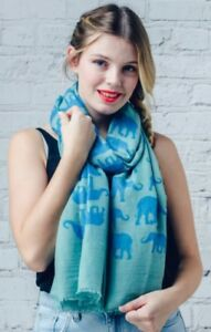 Turquoise & Blue Elephant Print Sarong / Scarf / Hijab / Face Covering / Shawl