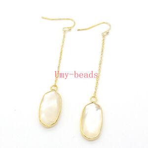 Natural Pearl Shell Rose Quartz Cryatal Stone Chain Dangle Hook Women Earrings