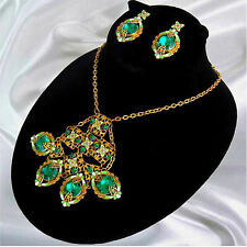 Neiger Art Deco Green & White Enamel Green Czech Glass Bib Necklace & Earrings