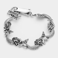 Mermaid Bracelet Chain Link Magnetic Clasp Sea Life Fish Textured SILVER Beach