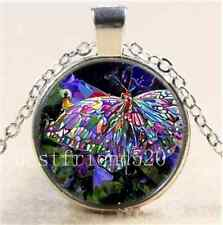 Rhinestone Butterfly Cabochon Glass Tibet Silver Chain Pendant  Necklace