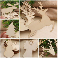 10pcs Christmas Wood Chip Tree Ornaments Xmas Hanging Pendant Home Decor Gifts