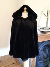 Zara Black Hooded Faux Fur Coat M UK12 Bnwt