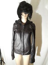 Mike and Chris brown leather jacket with hood size XS