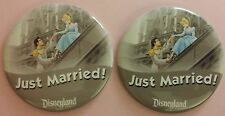 Disneyland Set of 2 JUST MARRIED Cinderella Prince Charming Button Pin! RETIRED!