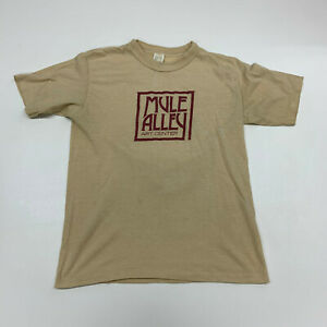 Vintage Mule Alley Art Center T-shirt Mens Medium Brown Short Sleeve 70's