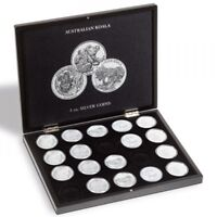 Leuchtturm Münzkassette für 20 Koala-Silberunzen in Kapseln, schwarz