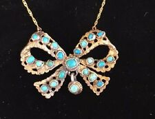 Austro Hungarian Victorian Antique  Silver Turquoise Bow Necklace