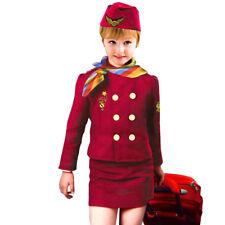 Kids Girls Airline Stewardess Uniform Wear Halloween Party Cosplay Costume Cheap
